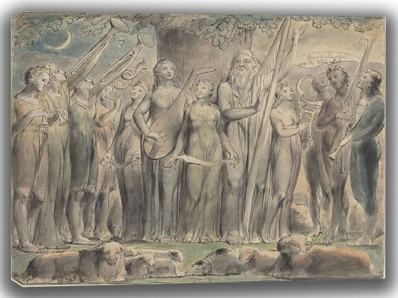 Blake, William: Job and His Family Restored to Prosperity. Fine Art Canvas. Sizes: A4/A3/A2/A1 (003550)
